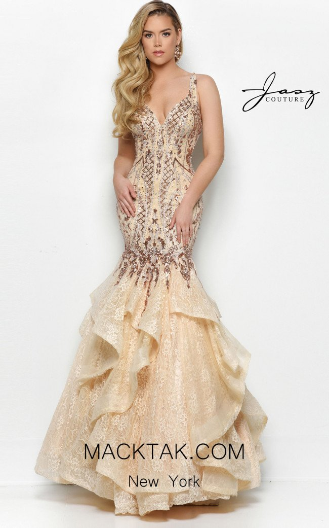Jasz Couture 7130 Champagne Front Dress