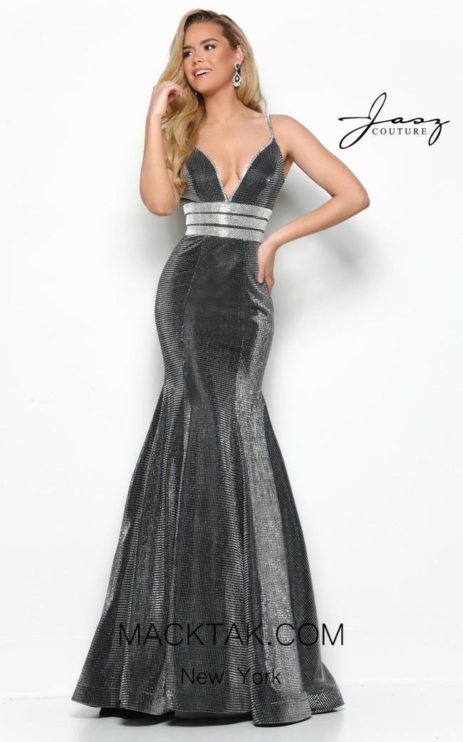 Jasz Couture 7133 Gunmetal Front Dress