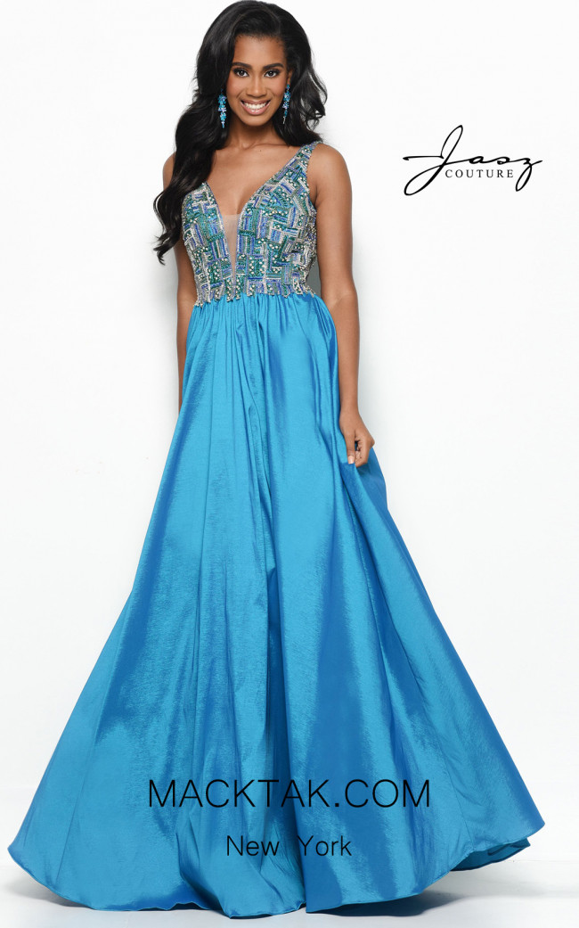 Jasz Couture 7136 Teal Front Dress