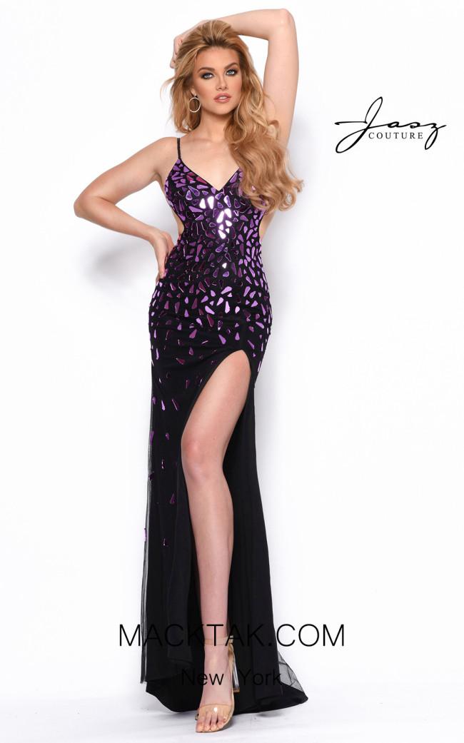 Jasz Couture 7141 Black Purple Front Dress