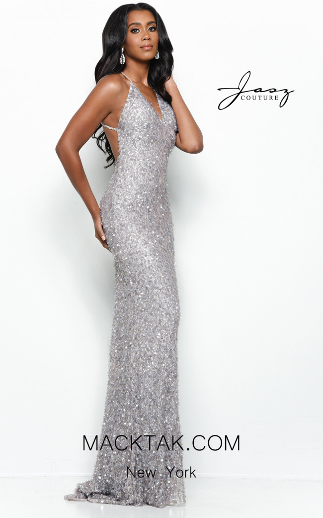 Jasz Couture 7144 Gray Front Dress