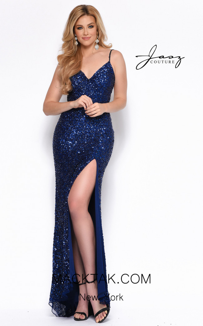 Jasz Couture 7157 Navy Front Dress