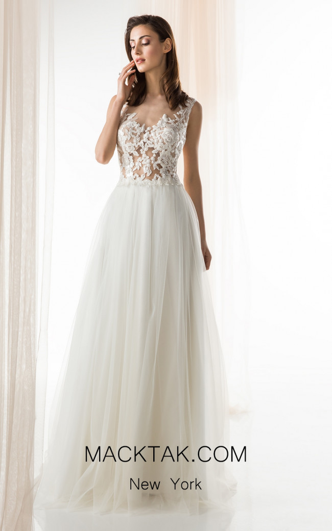 Jiouli Calo 743 Ivory Front Wedding Dress