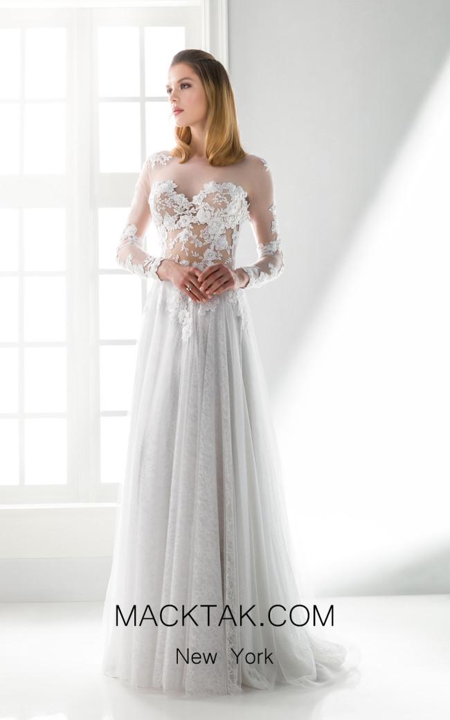 Jiouli Pasithea 738 White Front Wedding Dress