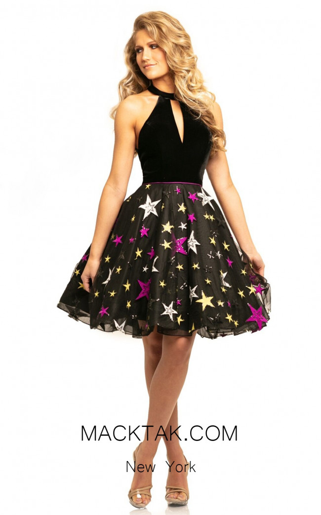 Johnathan Kayne 9208 Black Multi Front Dress