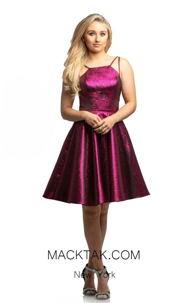 Johnathan Kayne 9220 Metallic Fuchsia Front Dress