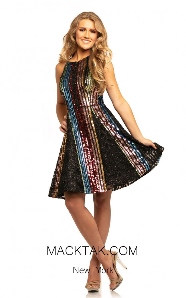 Johnathan Kayne 9230 Black Multi Front Dress