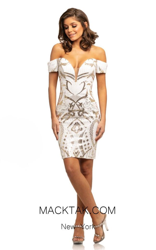 Johnathan Kayne 9231 White Gold Front Dress