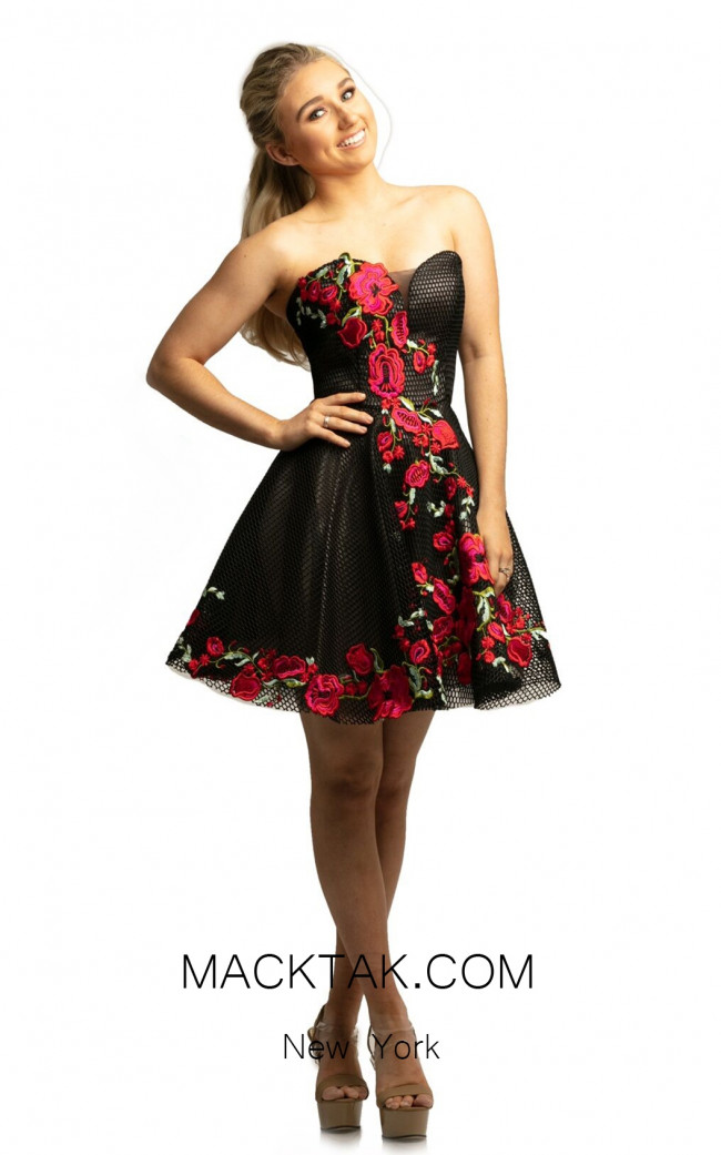 Johnathan Kayne 9240 Black Multi Front Dress