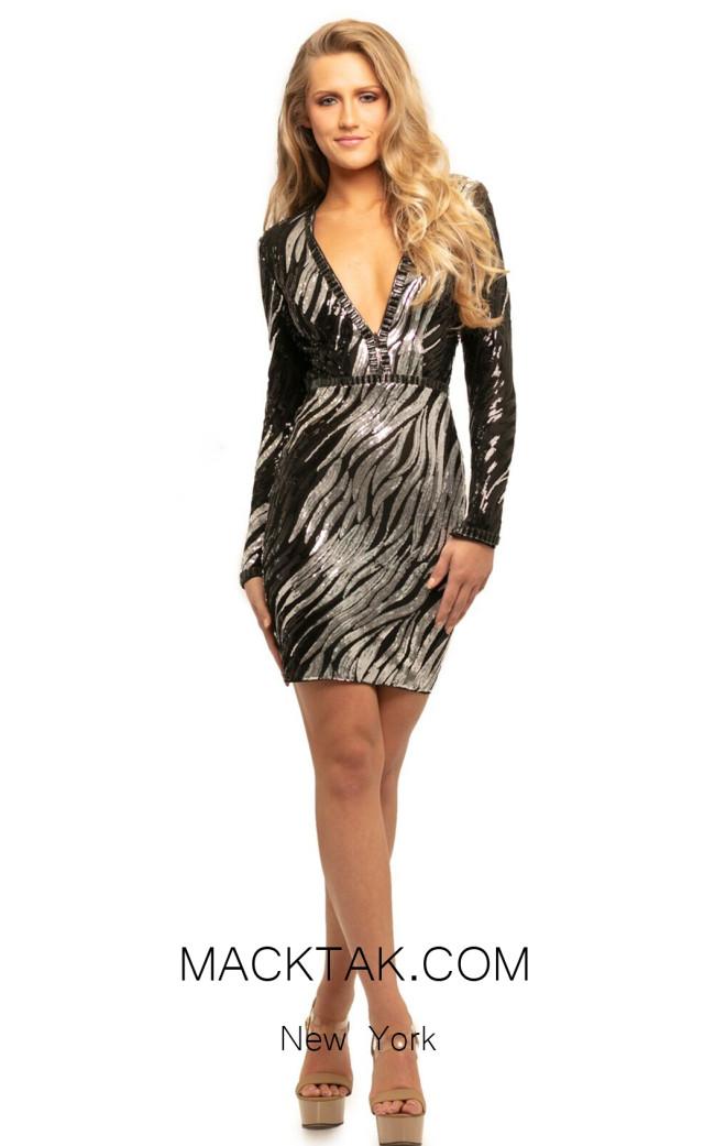 Johnathan Kayne 9254 Black Silver Front Dress