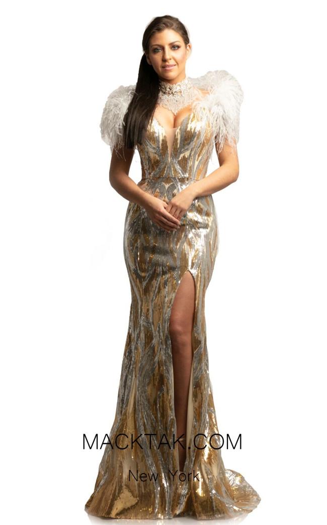 Johnathan Kayne 9256 Champagne Gold Front Dress