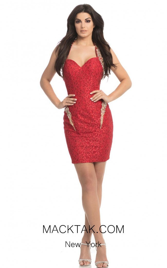 Johnathan Kayne 8224 Red Front Dress