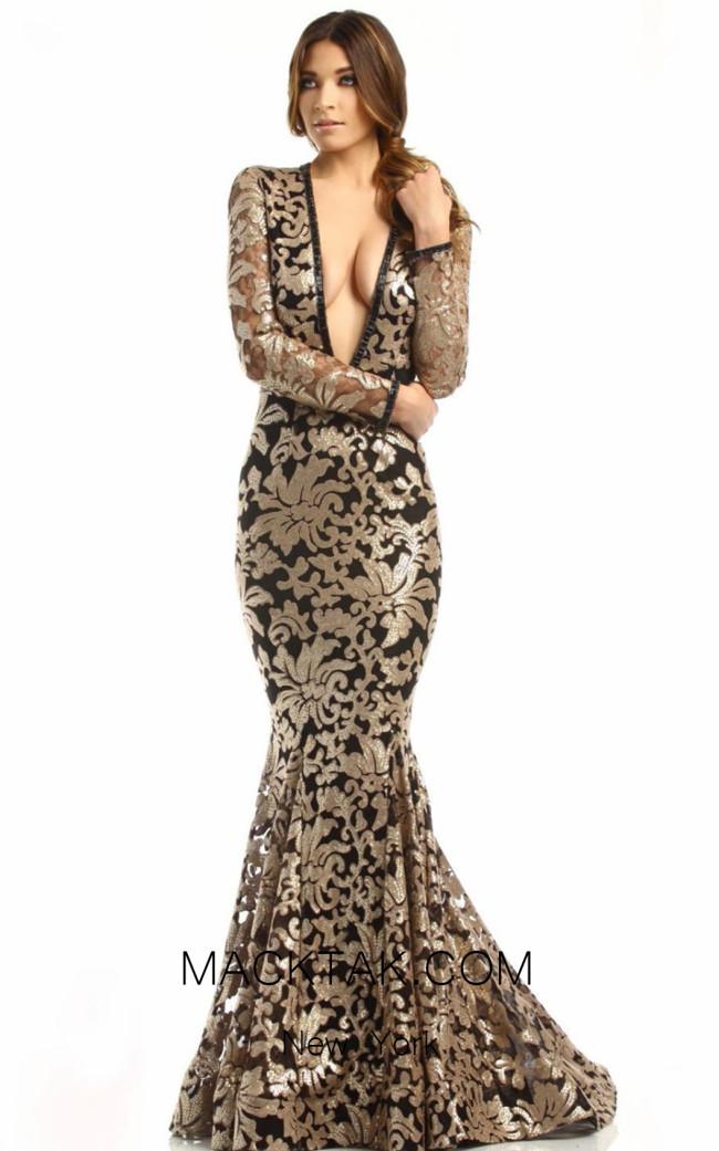 Johnathan Kayne 6113 Gold Black Front Dress