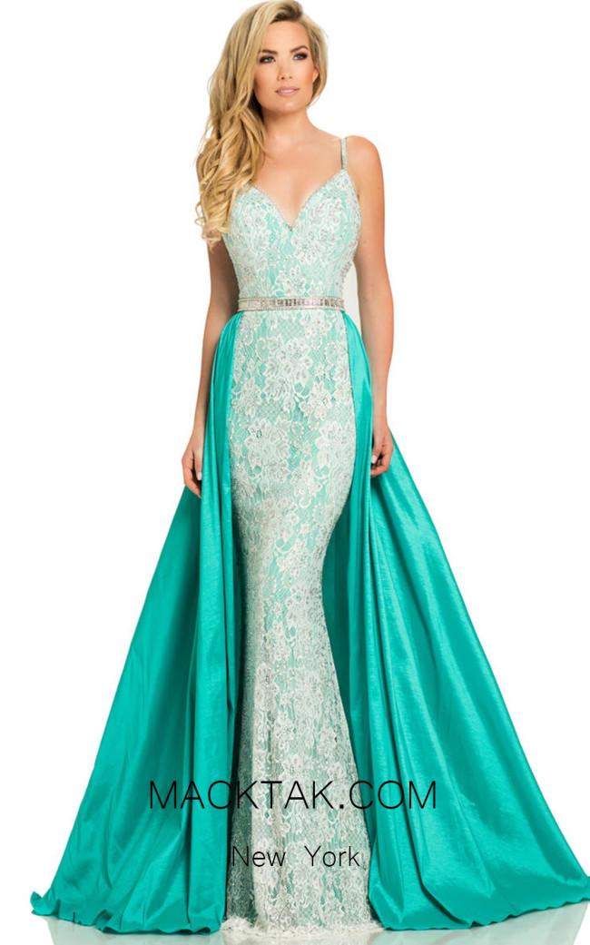 Johnathan Kayne 7242 White Aqua Front Dress