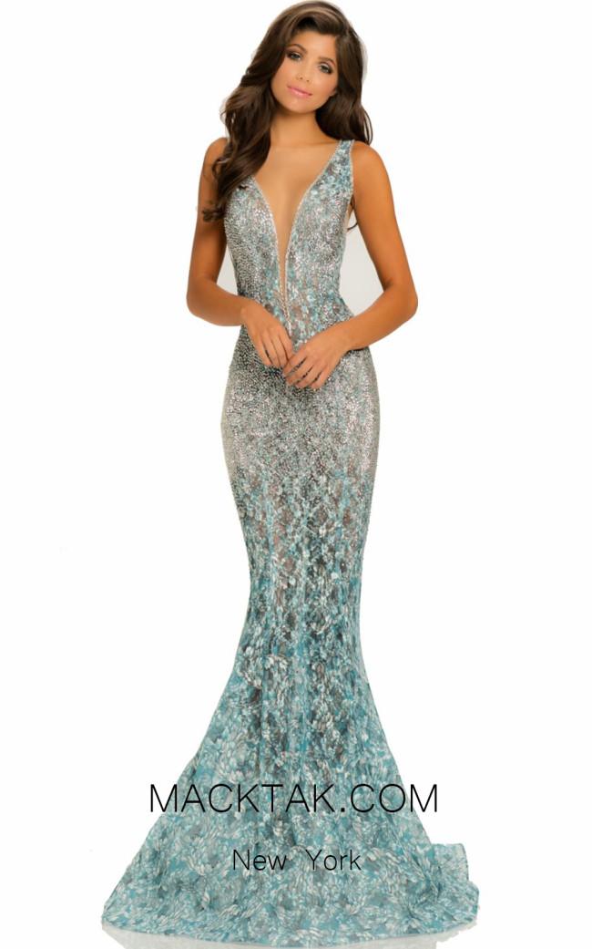 Johnathan Kayne 8031 Teal Front Dress