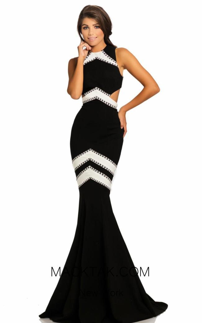 Johnathan Kayne 8056 Black White Front Dress