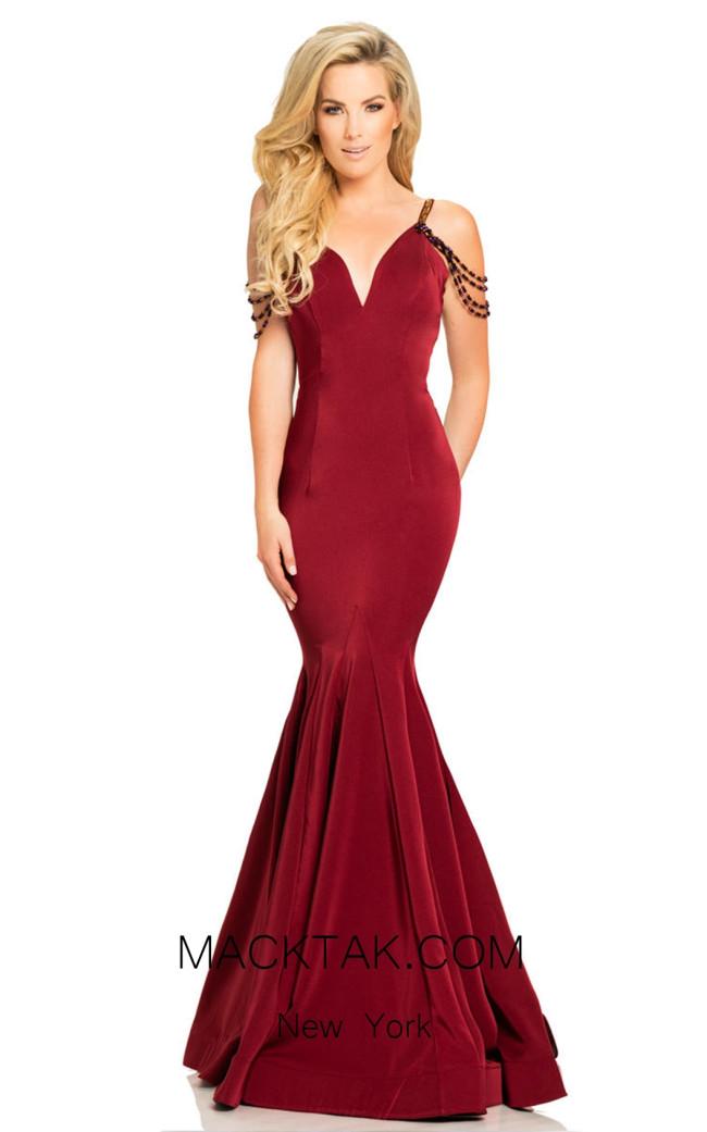 Johnathan Kayne 8078 Wine Front Dress