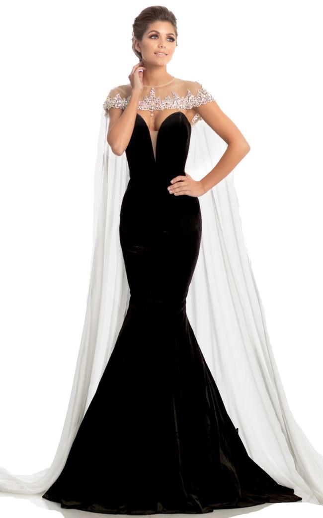 Johnathan Kayne 8201 Black White Front Dress