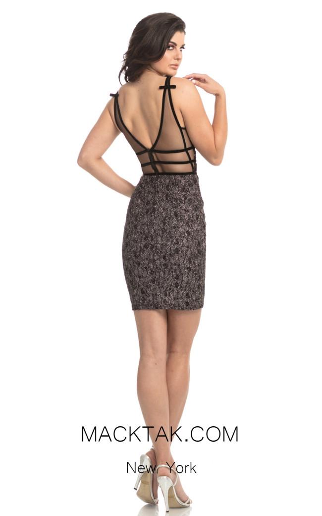 Johnathan Kayne 8227 Black Silver Back Dress