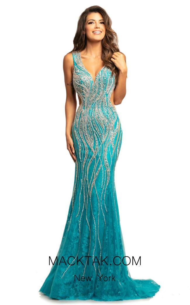 Johnathan Kayne 2041 Turquoise Front Dress