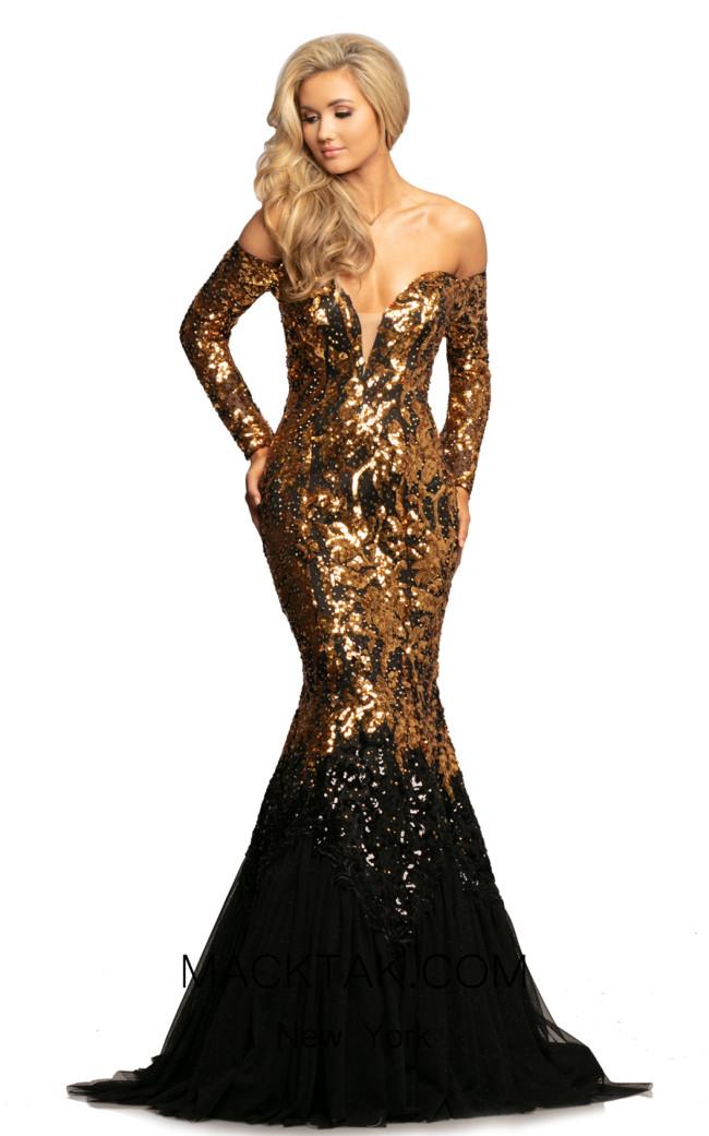 Johnathan Kayne 2062 Gold Black Front Dress