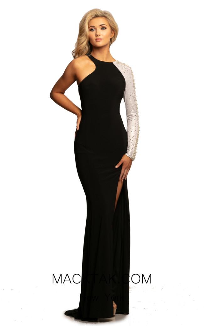 Johnathan Kayne 2067 Black Silver Front Dress