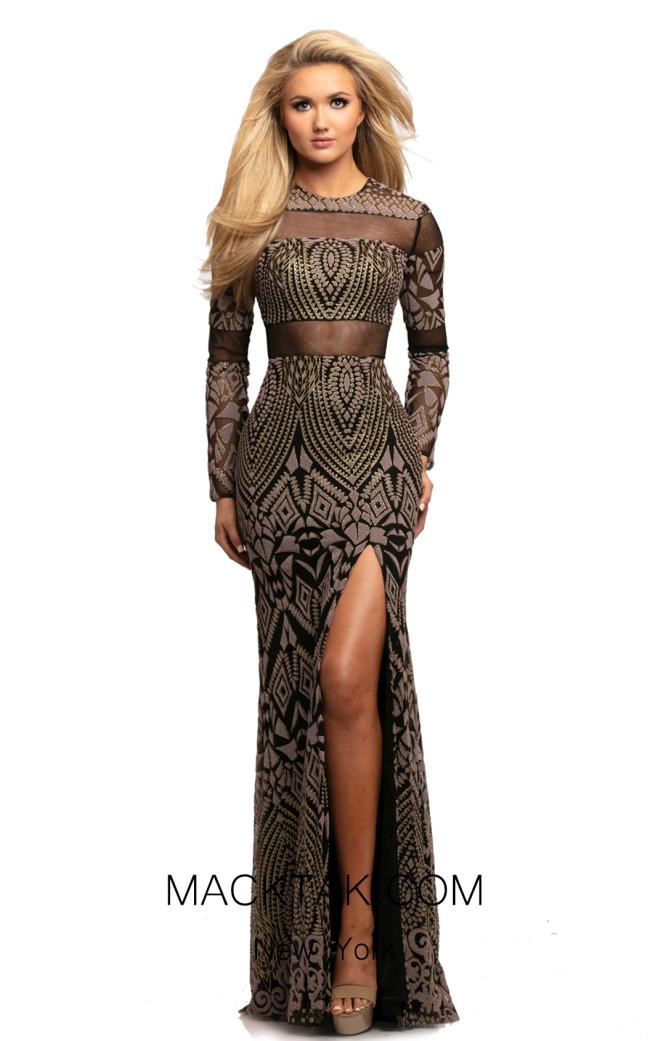 Johnathan Kayne 2080 Black Multi Front Dress
