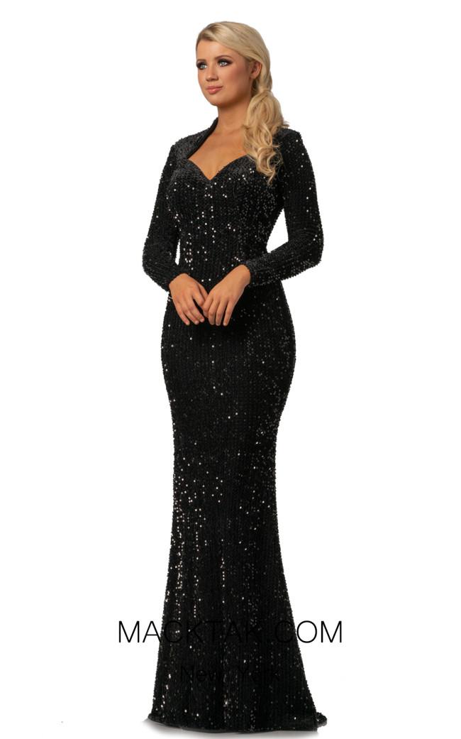 Johnathan Kayne 2084 Black Front Dress