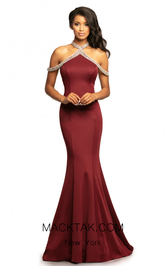 Johnathan Kayne 2085 Burgundy Front Dress