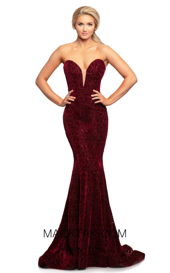 Johnathan Kayne 2086 Burgundy Front Dress