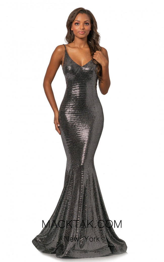 Johnathan Kayne 2087 Black Silver Front Dress