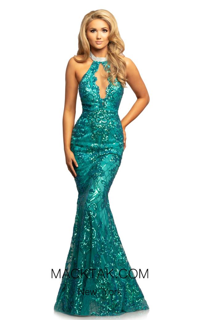 Johnathan Kayne 2093 Teal Front Dress