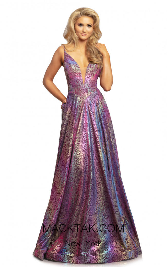 Johnathan Kayne 2094 Iridescent Magenta Front Dress