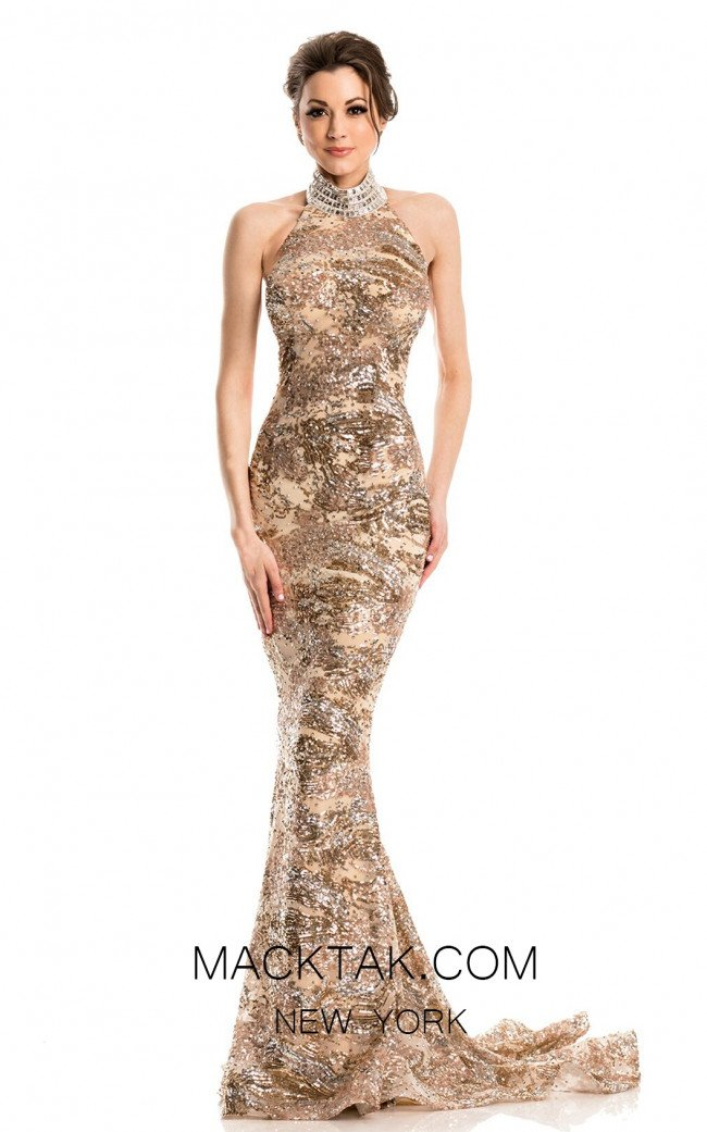 Johnathan Kayne 7238 Champagne Gold Front Dress