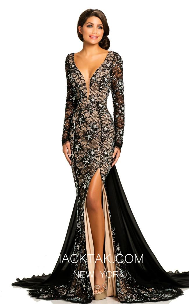 Johnathan Kayne 8009 Black Nude Front Dress