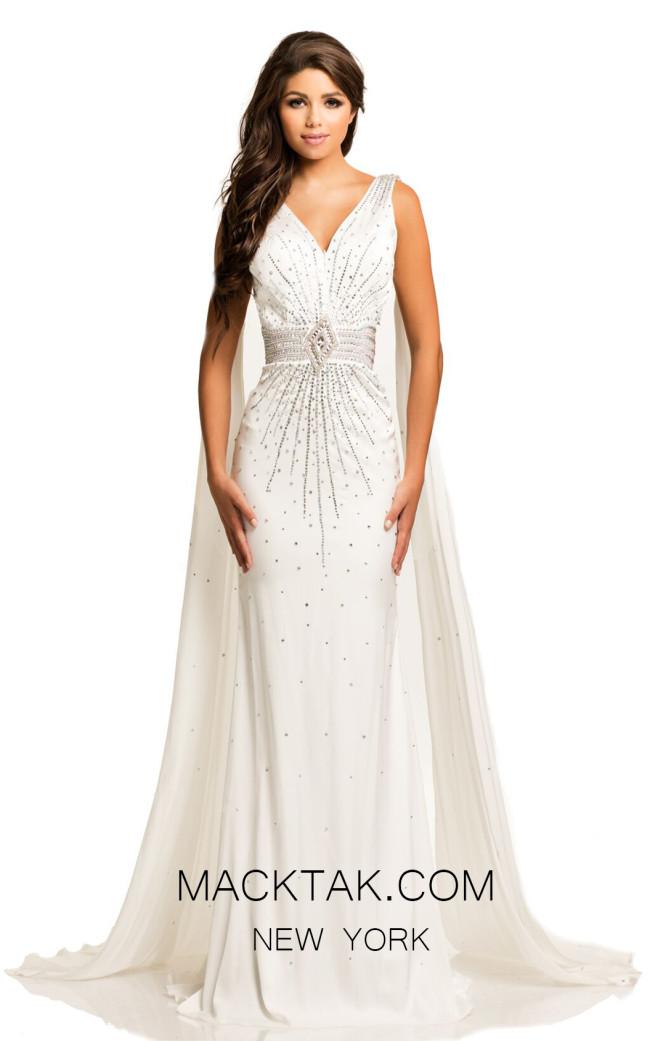 Johnathan Kayne 8010 White Front Dress