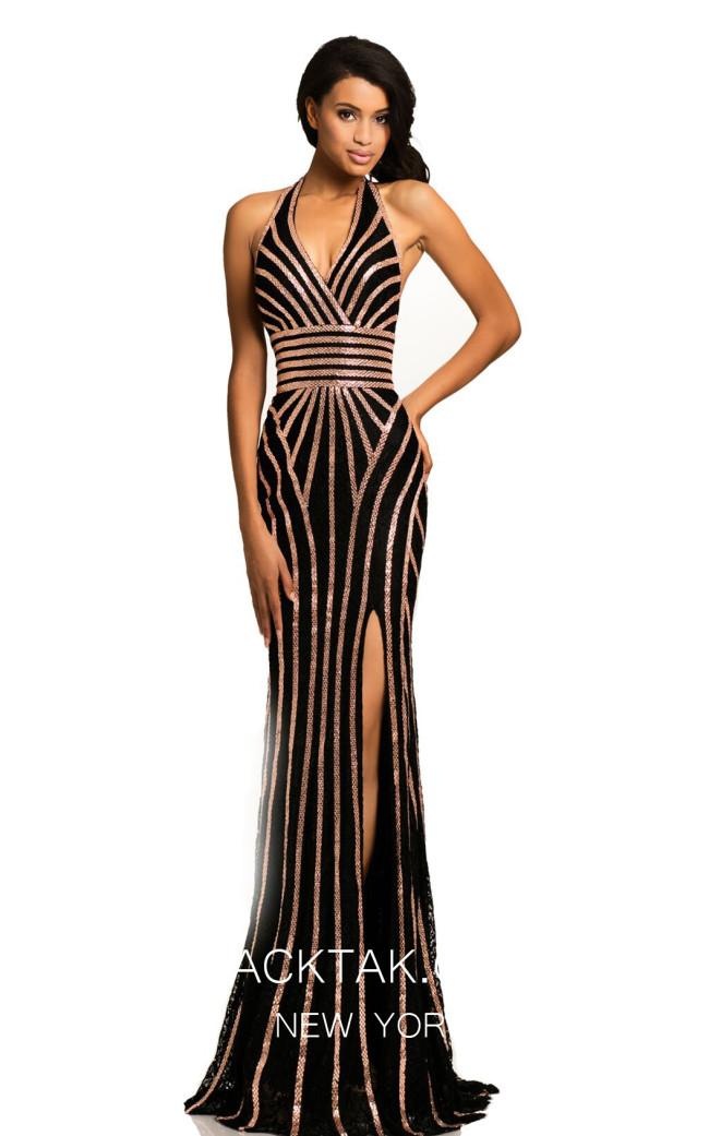 Johnathan Kayne 8016 Black Rose Gold Front Dress