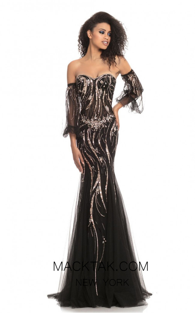 Johnathan Kayne 9003 Black Rose Gold Front Dress