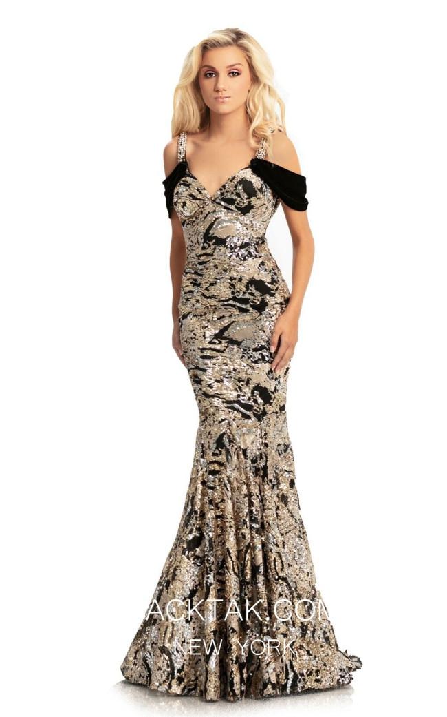 Johnathan Kayne 9013 Black Gold Front Dress
