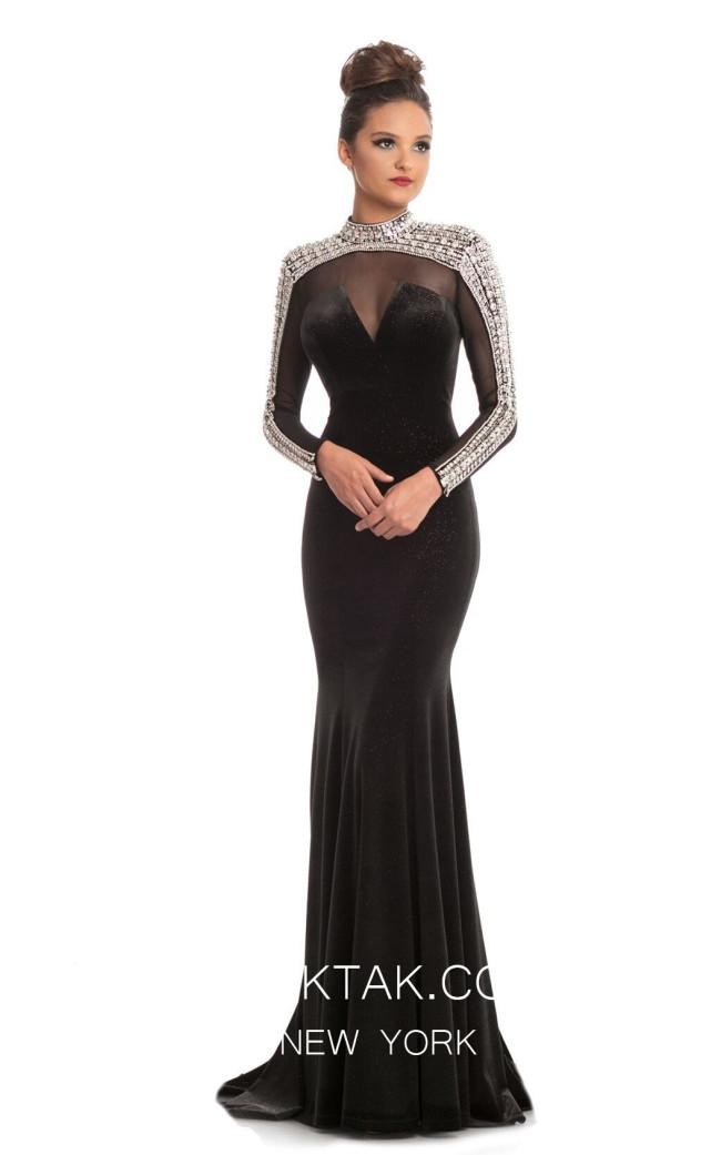 Johnathan Kayne 9026 Black Front Dress
