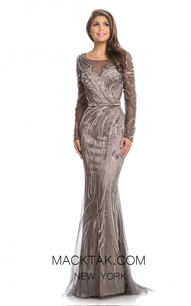 Johnathan Kayne 9037 Charcoal Blush Front Dress