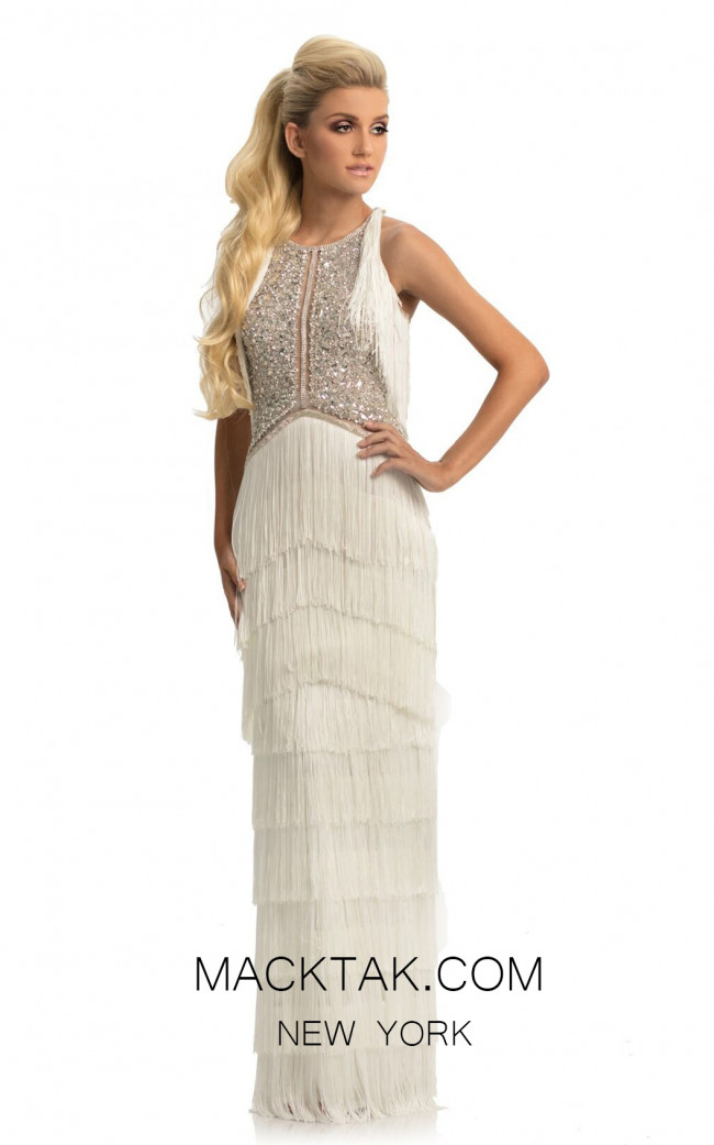 Johnathan Kayne 9050 White Front Dress