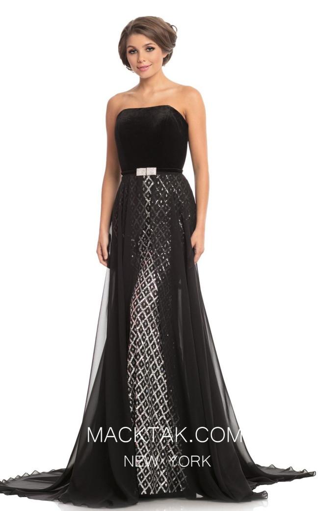 Johnathan Kayne 9053 Black Silver Front Dress