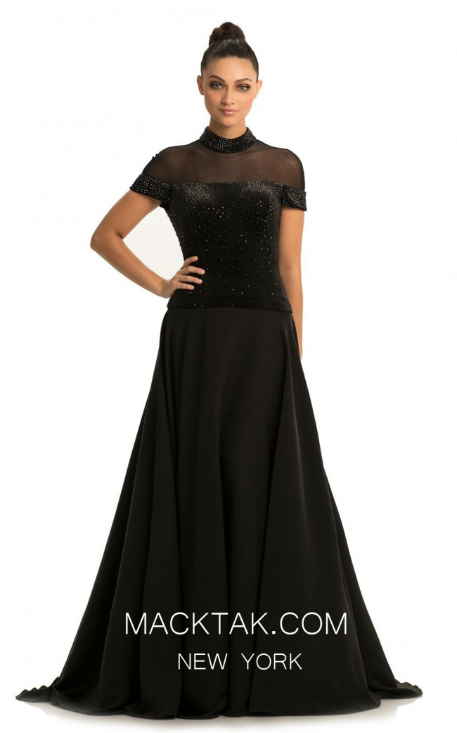 Johnathan Kayne 9057 Black Front Dress
