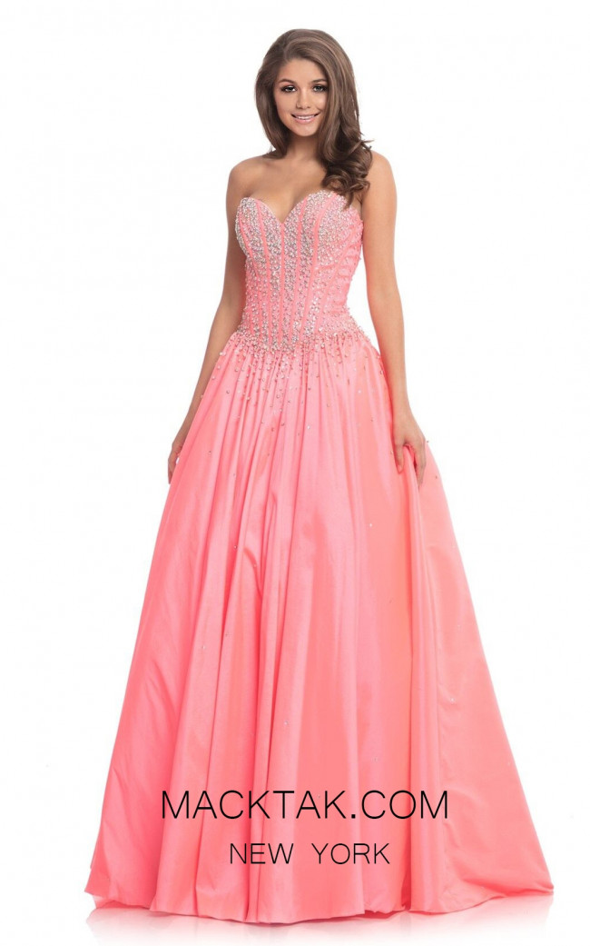 Johnathan Kayne 9063 Hot Coral Front Dress