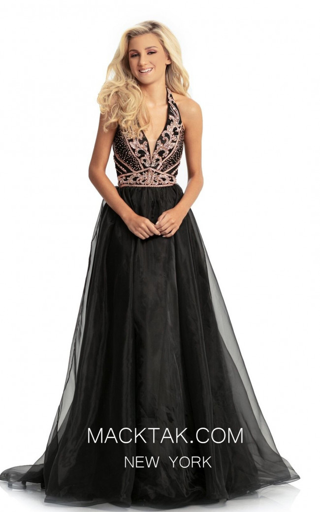 Johnathan Kayne 9066 Black Rose Gold Front Dress