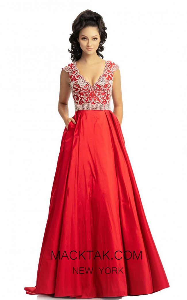 Johnathan Kayne 9081 Red Front Dress