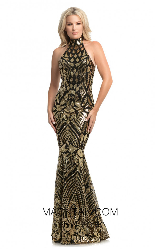 Johnathan Kayne 9086 Black Gold Front Dress