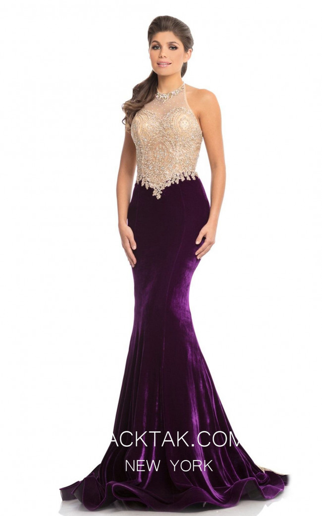 Johnathan Kayne 9087 Purple Gold Front Dress
