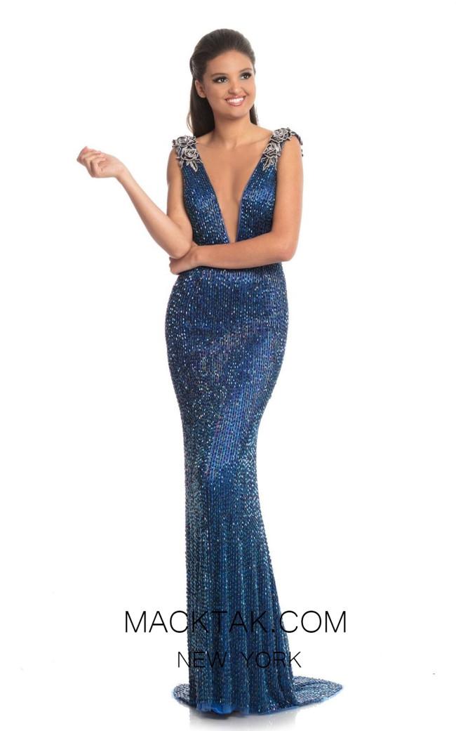 Johnathan Kayne 9097 Peacock Blue Front Dress